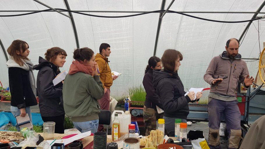 Les étudiants en bts production horticole en visite dans une exploitation labellisée en Agriculture Biologique